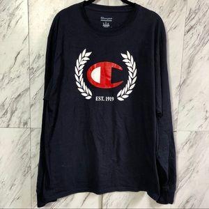 3/$60 Champion Navy Retro Logo Long Sleeve Tee L